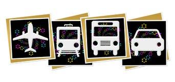 Il buio di viaggio delle icone quadra il neon variopinto illustrazione di stock