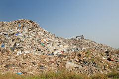 Il bulldozer seppellisce l'alimento ed i rifiuti industriali Fotografia Stock