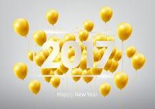 Il buon anno 2017 con oro balloons, illustrazione di vettore Fotografie Stock Libere da Diritti