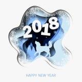 Il buon anno 2018 3d sottrae l'illustrazione del taglio della carta del cane, albero, neve nella notte Immagini Stock Libere da Diritti