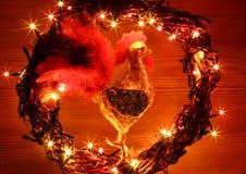 Il buon anno ed il Buon Natale decorati del testo progettano la carta di congratulazioni dell'inverno Fotografia Stock