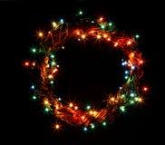 Il buon anno ed il Buon Natale decorati del testo progettano la carta di congratulazioni dell'inverno Fotografie Stock