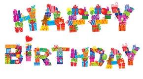 Il buon compleanno, lettere è fatto dei contenitori di regalo Fotografia Stock