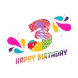 Il buon compleanno una carta da 3 anni ha tagliato la cartolina d'auguri Immagini Stock Libere da Diritti