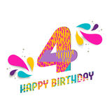 Il buon compleanno una carta da 4 anni ha tagliato la cartolina d'auguri Immagini Stock Libere da Diritti