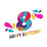 Il buon compleanno una carta da 8 anni ha tagliato la cartolina d'auguri Fotografia Stock Libera da Diritti