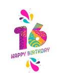 Il buon compleanno una carta da 16 anni ha tagliato la cartolina d'auguri Immagine Stock