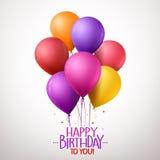 Il buon compleanno variopinto Balloons il volo per il partito e le celebrazioni illustrazione di stock