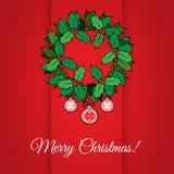 Il Buon Natale carda con agrifoglio Fotografia Stock Libera da Diritti