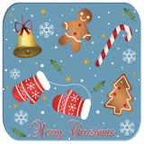 Il Buon Natale carda su un fondo blu Fotografie Stock