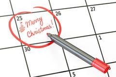 Il Buon Natale data sul concetto del calendario, rappresentazione 3D Fotografia Stock