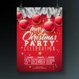 Il Buon Natale di vettore fa festa l'illustrazione dell'aletta di filatoio con gli elementi di festa e di tipografia su fondo blu royalty illustrazione gratis