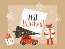 Il Buon Natale ed il buon anno disegnati a mano dell'estratto di vettore cronometrano l'intestazione d'annata della cartolina d'a illustrazione vettoriale