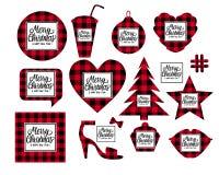 Il Buon Natale ed il buon anno stabiliti hanno modellato le carte che la struttura a quadretti è nera con rosso Iscrizione di Let immagini stock libere da diritti