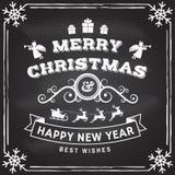 Il Buon Natale ed il buon anno timbrano, autoadesivo messo con gli angeli, il Babbo Natale in slitta con i cervi ed i regali di n illustrazione vettoriale