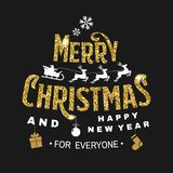Il Buon Natale ed il buon anno timbrano, autoadesivo messo con gli angeli, il Babbo Natale in slitta con i cervi ed i regali di n illustrazione di stock