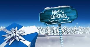 Il Buon Natale ed il regalo con il cartello di legno nell'inverno di Natale abbelliscono Immagini Stock