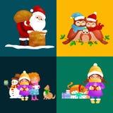 Il Buon Natale fissato illustrazioni il buon anno, ragazza canta le canzoni di festa con gli animali domestici, i regali del pupa Immagine Stock
