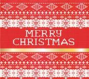 Il Buon Natale ha tricottato il modello del maglione con un holi della banda dell'oro Fotografia Stock