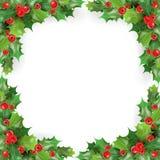 Il Buon Natale incornicia con il vischio, Holly Berries Modello della cartolina d'auguri di vacanze invernali Fotografie Stock Libere da Diritti