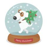 Il Buon Natale insegue con l'albero in globo della neve con i fiocchi di neve Immagini Stock Libere da Diritti