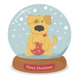 Il Buon Natale insegue con la palla di Natale in globo e fiocchi di neve della neve Fotografie Stock Libere da Diritti