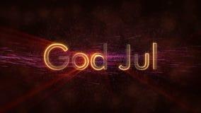 Il Buon Natale manda un sms a nell'animazione norvegese & svedese del ciclo di Dio luglio sopra fondo animato scuro archivi video