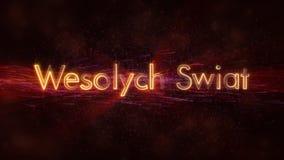 Il Buon Natale manda un sms a nell'animazione polacca del ciclo di Wesolych Swiat sopra fondo animato scuro fotografia stock