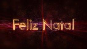 Il Buon Natale manda un sms a nell'animazione portoghese del ciclo di Feliz Natal sopra fondo animato scuro immagini stock
