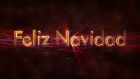 Il Buon Natale manda un sms a nell'animazione spagnola del ciclo di Feliz Navidad sopra fondo animato scuro royalty illustrazione gratis