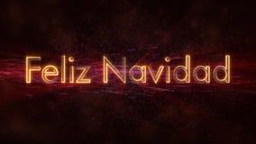 Il Buon Natale manda un sms a nell'animazione spagnola del ciclo di Feliz Navidad sopra fondo animato scuro fotografie stock libere da diritti