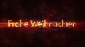 Il Buon Natale manda un sms a nell'animazione tedesca del ciclo di Frohe Weihnachten sopra fondo animato scuro fotografia stock libera da diritti
