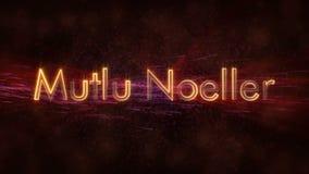 Il Buon Natale manda un sms a nell'animazione turca del ciclo di Mutlu Noeller sopra fondo animato scuro archivi video