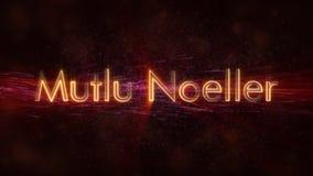 Il Buon Natale manda un sms a nell'animazione turca del ciclo di Mutlu Noeller sopra fondo animato scuro immagini stock libere da diritti