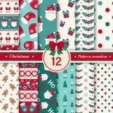 Il Buon Natale modella la raccolta senza cuciture Colore rosso e verde fotografia stock