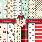Il Buon Natale modella la raccolta senza cuciture Colore rosso e verde immagini stock libere da diritti