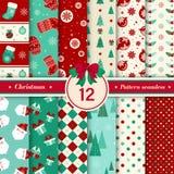 Il Buon Natale modella la raccolta senza cuciture Metta della vittoria di natale 12 immagini stock