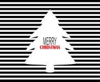 Il Buon Natale moderno progetta con i gessati e l'albero neri di natale bianco Immagini Stock