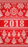 Il Buon Natale, nuovo 2018 anni felice ha tricottato l'insegna, vettore Fotografia Stock