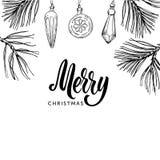 Il Buon Natale passa l'iscrizione scritta ed il natale disegnato a mano Immagini Stock Libere da Diritti