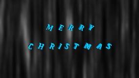 Il Buon Natale testo luminoso e le precipitazioni nevose, 3d rendono il fondo, computer che genera per la progettazione festiva d illustrazione di stock