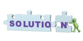 il burattino 3d ha risolto con successo un puzzle Fotografia Stock Libera da Diritti