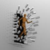 Il burattino rompe la parete di mattoni Immagine Stock