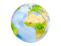 Il Burkina Faso sul globo isolato Fotografie Stock