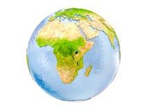 Il Burundi sul globo isolato Immagine Stock Libera da Diritti