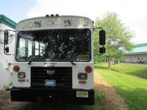 """Il bus della piattaforma di festival di New York NY Giants con per la vendita firma dentro Brunswick del nord, NJ, U.S.A. Ð """" Fotografia Stock"""