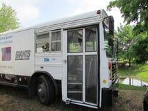 """Il bus della piattaforma di festival di New York NY Giants con per la vendita firma dentro Brunswick del nord, NJ, U.S.A. Ð """" Fotografia Stock Libera da Diritti"""