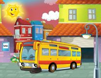Il bus felice del fronte nella città Fotografie Stock
