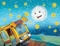 Il bus felice del fronte nella città Immagini Stock Libere da Diritti