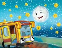 Il bus felice del fronte nella città Immagine Stock
